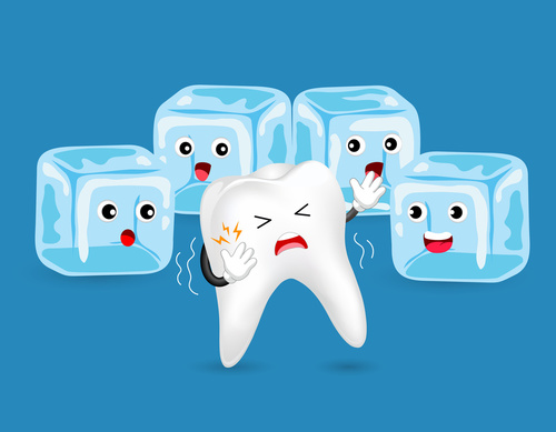 sensitive tooth with ice cubes