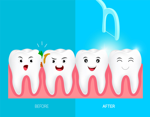teeth with plaque graphic fun